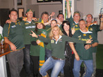 Debbie Raulet - Supporting the SPRINGBOKS v Samoa - Rugby World Cup game 2011 at Turks Pub