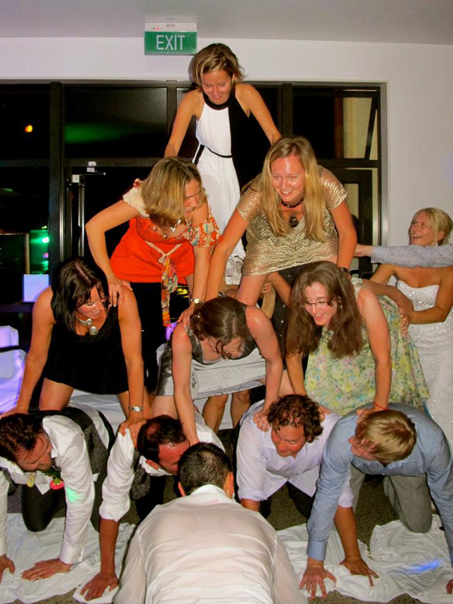Rebecca - in true london waterpolo team style, my bridesmaid organised a pyramid at our wedding with the groom on the bottom row. i opted to let one of my tiny friends get up the top :)