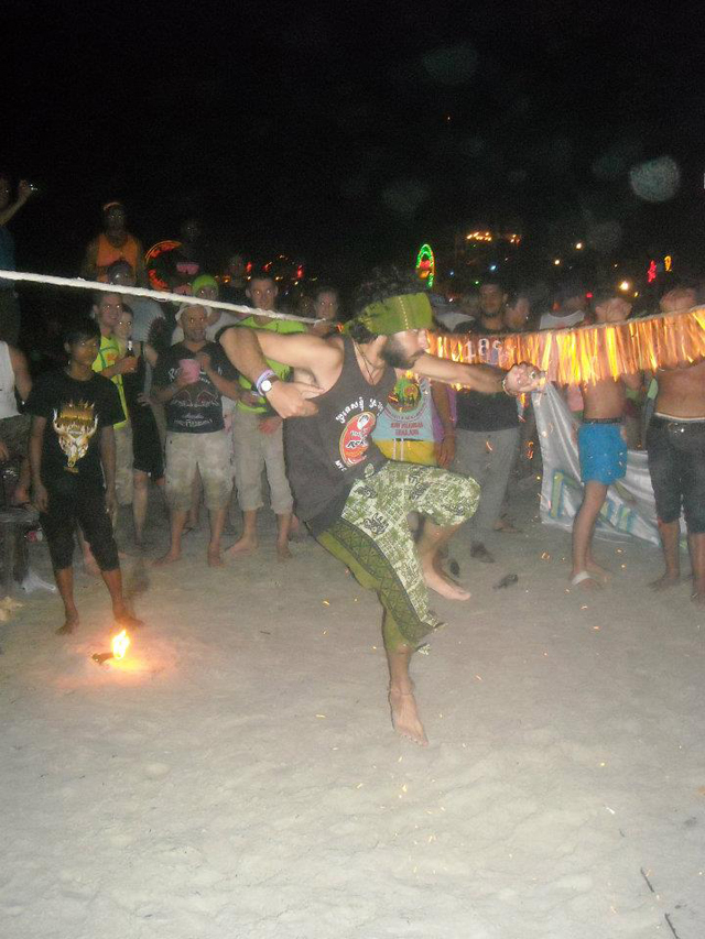 Stephanie Harper - Full Moon party in Haadrin, Thailand. 10,000 people on the beach, djs, vodka buckets, fire limbo and skipping .. total epicness! one of the best parties in the world