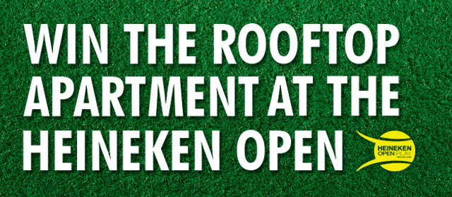 Heineken Open Play - Heineken's giving you and a mate the chance to score the best seats in the house for the duration of The 2014 Heineken Open in your very own custom built pop-up rooftop apartment....