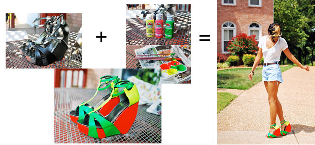 Refresh an old pair of heels with neon paint!