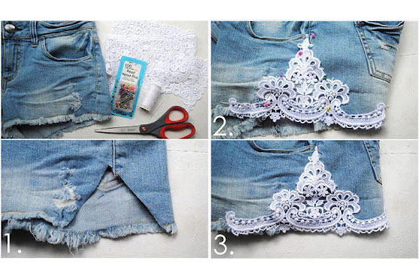 Add lace inserts to the sides of your cutoffs