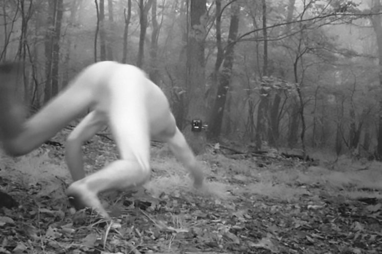 Hidden camera catches naked man tripping dicks on acid thinking he's a tiger