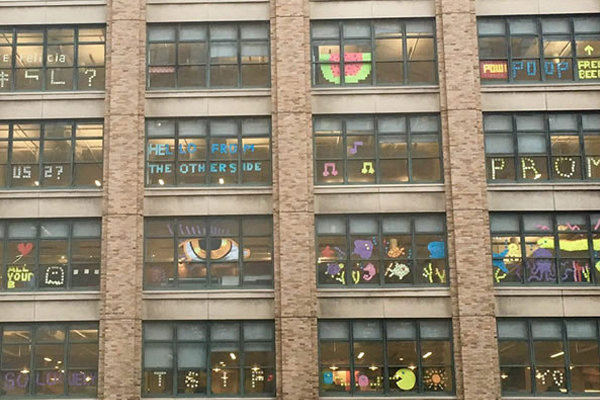 This 'post-it' war between two office buildings is insane!