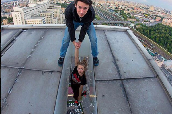 This chicks Instagram high rise stunts are on another level