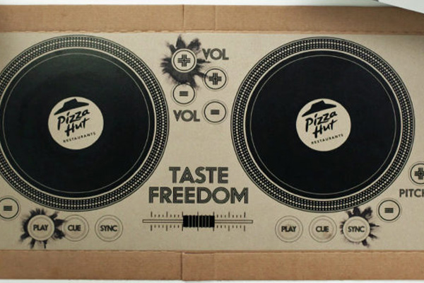 Check out the pizza box that becomes a pair of DJ decks