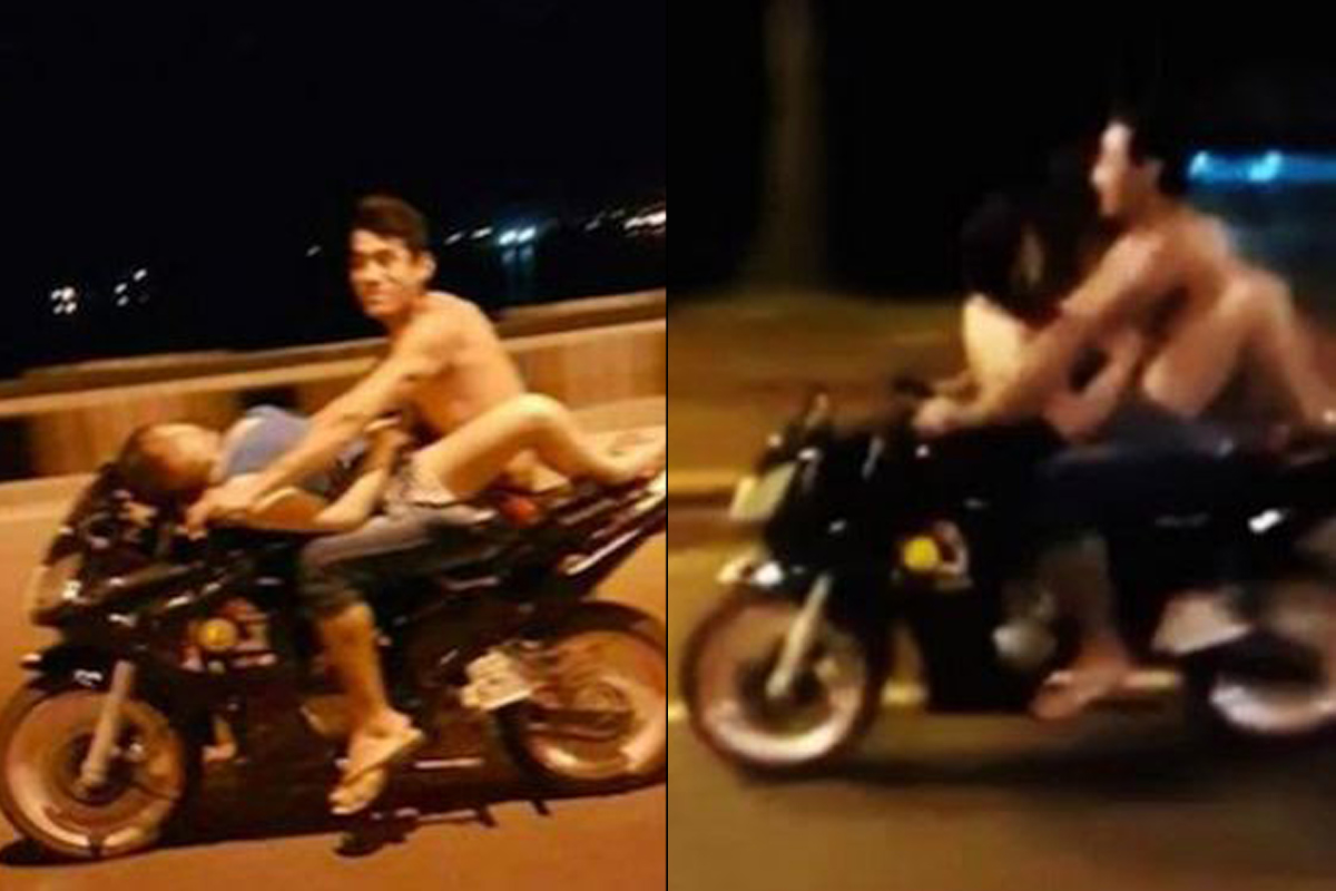 Danger sex: Couple caught in the act on moving motorcycle