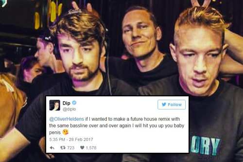 "Oliver Heldens ripped into Major Lazer on Twitter, so Diplo called him a ""baby penis"""
